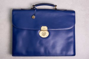 Goldpfeil Briefcase gold-colored-blue leather
