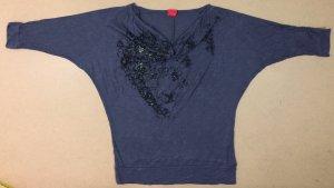 blaue Bluse, 3/4 ärmlig, Gr. 34