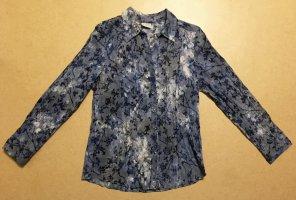 blaue Bluse mit Motiv, langärmlig, Gr. 42