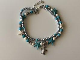 Blaue Doppelte Perlen Fußkette mit Anhänger NEU