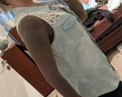 Amisu Gilet en jean blanc-bleu pâle