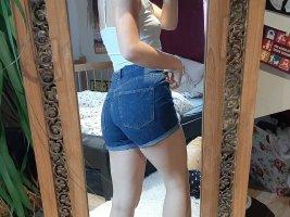 & DENIM Pantalón corto de talle alto azul oscuro