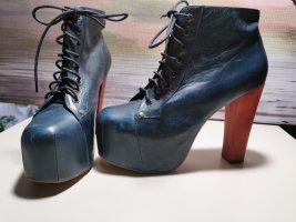 blaue Leder Plateau High Heels - Jeffrey Campbell