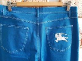 Blaue original Burberry Jeans Hose Modell Kucsia -Größe 48/50 - mit weißen Stickereien NEU