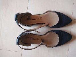 Tamaris Strappy Ballerinas dark blue-blue leather