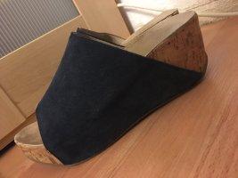 Sandalias con tacón azul oscuro