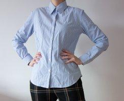 Blaumax Chemise à manches longues blanc-bleu azur coton