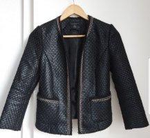 Blazer, Kastenjacke, Chanel-Style, Schwarz, Ketten-Applikation, Passt Größe S-M