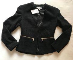 H&M Blazer Tweed negro-color oro Algodón