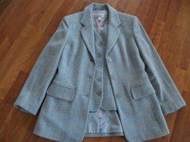 Blazer + Weste aus Wolle, Gr. 36, blau melliert