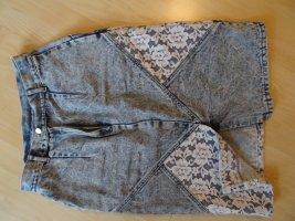 Jupe en jeans gris ardoise-blanc coton