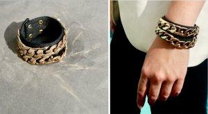 Bling Bling Baby: Schwarzes Armband mit Gold-Gliederkette, NP 10€