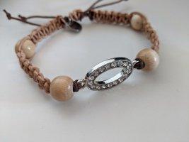 Blingbling meets Nature- Makramee-Armband Leder/Strass/Holz