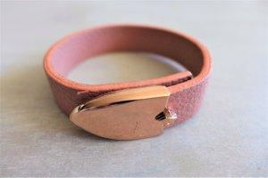 Blogger Armband Kunstleder rosa Rosegold Schnalle neu