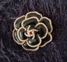 Blogger Brosche Rose Blume Grau Schwarz Perlen Gold Anstecknadel NEU