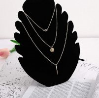 blogger Halskette in Gold Münze Plättchen Strassstein drei teilig boho Multilayer Purelei