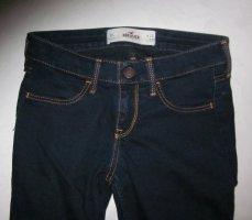 Blogger Hollister Skinny Röhre Jeans Hose Jeanshose dunkelblau Röhre mit Absteppungen Stretch W24 L27 32 34 TOP