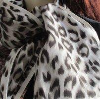 Blogger Schal Tuch Scarf Halstuch Leo Leoparden Print Rollrand creme dunkelbrau beige angesagt!