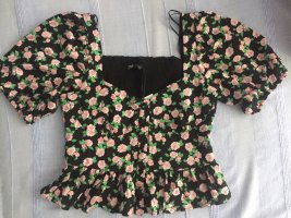 Blogger ZARA kurze Bluse floral Puffärmel sehr feminin S
