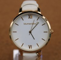 blumenkind Watch With Leather Strap white-gold-colored