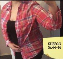 Sheego Colletto camicia rosso-rosa