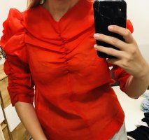 H&M Blouse à volants rouge