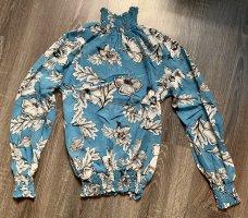 Bluse blau weiß Blumen Perlen Rollkragen etwas durchsichtig neu