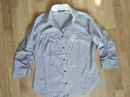 Bluse eterna weiß grau gestreift Größe 40
