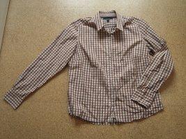 Gant Blouse à carreaux blanc-brun tissu mixte
