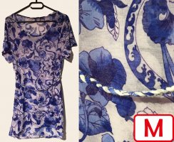 Bluse/Kleid mit Muster, kurzärmlig, U-Schnitt