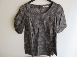 Bluse Kurzarm anthrazit Punktemuster Casual