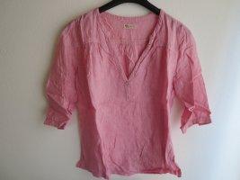 Bluse Leinen  rosa Streifen 3/4-Arm Casual