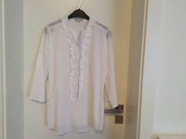 Bluse mit Rüschenkante von Lilienfels weiß