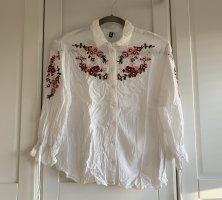H&M Blouse Shirt white-red