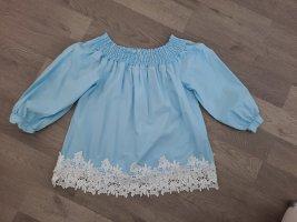 Bluzka typu carmen biały-błękitny Bawełna