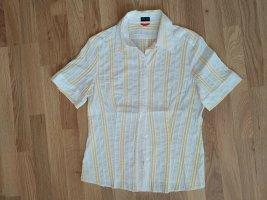 Otto Kern Short Sleeved Blouse yellow-white cotton
