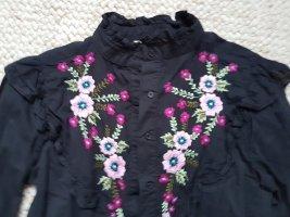 Bluse schwarz mit Blümchen