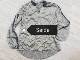 2-Biz Jedwabna bluzka ciemnoszary-khaki