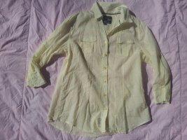 Bluse Soccx gelb Streifen 3/4 Ärmel Gr. S 36 transparent