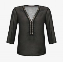 Anna Field Transparent Blouse black-silver-colored