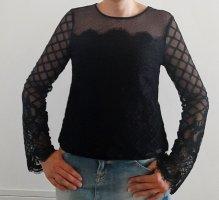 Guess Koronkowa bluzka czarny Tkanina z mieszanych włókien