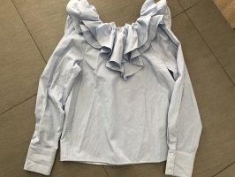 H&M Blusa tipo Carmen blanco-azul neón