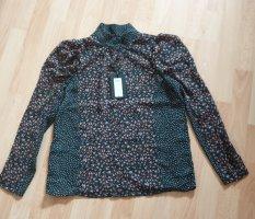 Bluse von YAS - grün gemustert - tolle Ärmel - Gr. XS - NEU