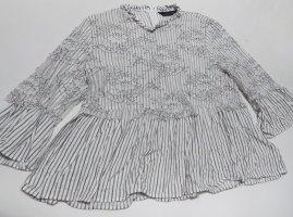 Zara Empiècement de blouses blanc-noir
