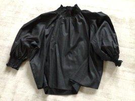Zara Stand-Up Collar Blouse black lyocell