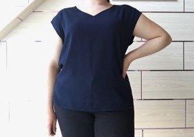 Flame T-shirt col en V bleu foncé