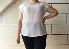 Flame T-shirt col en V blanc