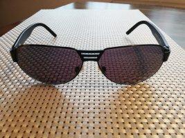 BMW Lunettes de soleil ovales noir-rouge foncé