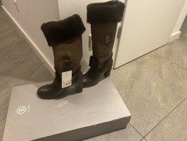 Bogner Futrzane buty ciemnobrązowy-brązowy
