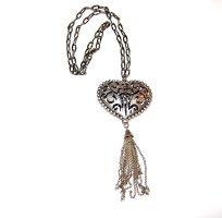 Boho Gothic Accessoire - Silber Kette mit massiven Herzanhänger